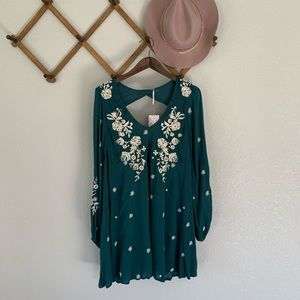 Free People Floral Embroidery Mini Dress